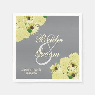 Gray Wedding Satin and Pastel Yellow Napkin