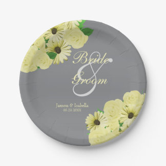 Gray Wedding Satin and Pastel Yellow Paper Plate