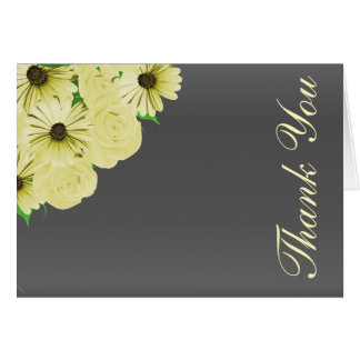 Gray Wedding Satin and Yellow Floral Card