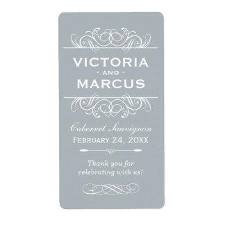 Gray Wedding Wine Bottle Monogram Favor Labels