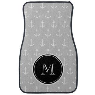 Gray White Anchors Pattern, Black Monogram Auto Mat