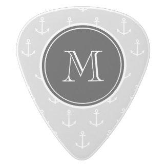 Gray White Anchors Pattern, Black Monogram White Delrin Guitar Pick