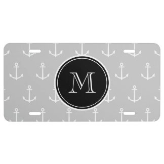 Gray White Anchors Pattern, Black Monogram License Plate
