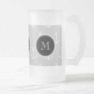 Gray White Anchors Pattern, Black Monogram Mug