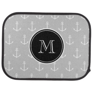 Gray White Anchors Pattern, Black Monogram Floor Mat