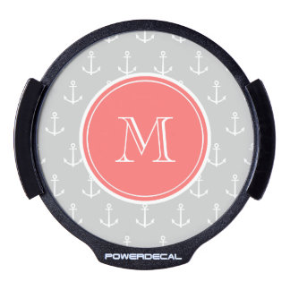 Gray White Anchors Pattern, Coral Monogram LED Car Decal