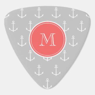 Gray White Anchors Pattern, Coral Monogram Pick