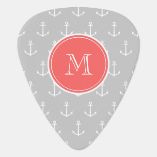 Gray White Anchors Pattern, Coral Monogram Guitar Pick