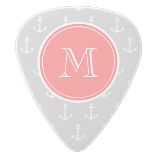 Gray White Anchors Pattern, Coral Monogram White Delrin Guitar Pick