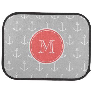Gray White Anchors Pattern, Coral Monogram Car Mat