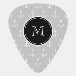 Gray White Anchors Pattern, Hot Pink Monogram Guitar Pick