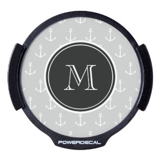Gray White Anchors Pattern, Hot Pink Monogram LED Window Decal