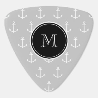Gray White Anchors Pattern, Hot Pink Monogram Pick