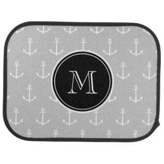 Gray White Anchors Pattern, Hot Pink Monogram Floor Mat