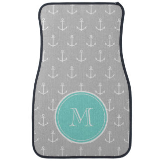 Gray White Anchors Pattern, Mint Monogram Car Mat
