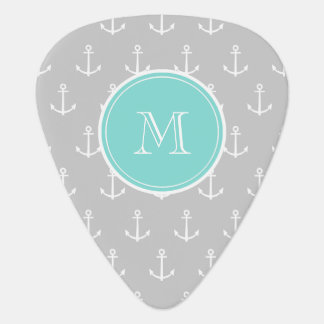 Gray White Anchors Pattern, Mint Monogram Pick