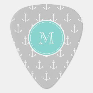 Gray White Anchors Pattern, Mint Monogram Guitar Pick