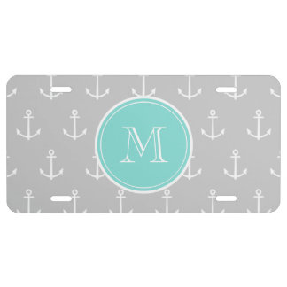 Gray White Anchors Pattern, Mint Monogram License Plate