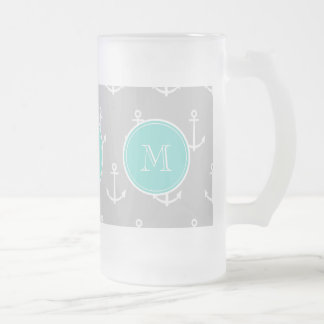 Gray White Anchors Pattern, Mint Monogram Frosted Beer Mug
