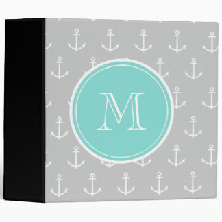 Gray White Anchors Pattern, Mint Monogram Vinyl Binders