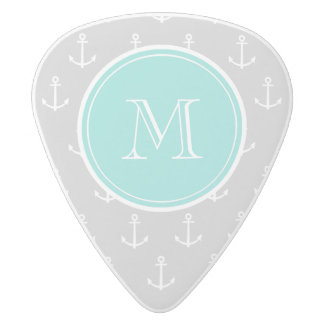 Gray White Anchors Pattern, Mint Monogram White Delrin Guitar Pick