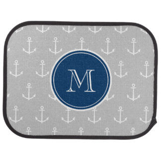 Gray White Anchors Pattern, Navy Blue Monogram Auto Mat