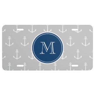Gray White Anchors Pattern, Navy Blue Monogram License Plate