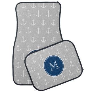 Gray White Anchors Pattern, Navy Blue Monogram Car Mat