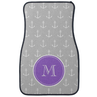 Gray White Anchors Pattern, Purple Monogram Auto Mat