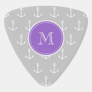 Gray White Anchors Pattern Purple Monogram Pick