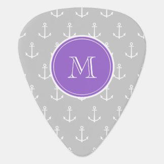 Gray White Anchors Pattern, Purple Monogram Pick