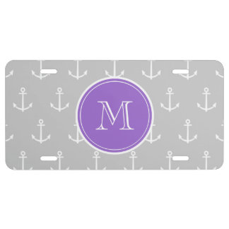 Gray White Anchors Pattern, Purple Monogram License Plate