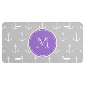 Gray White Anchors Pattern, Purple Monogram License Plate