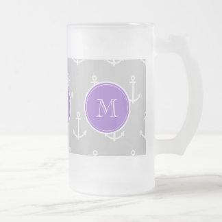 Gray White Anchors Pattern, Purple Monogram Glass Beer Mug