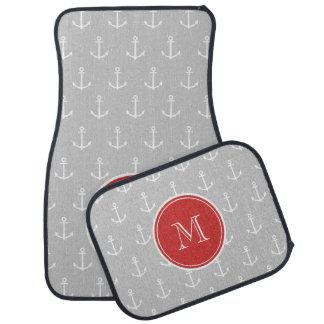 Gray White Anchors Pattern, Red Monogram Car Floor Carpet