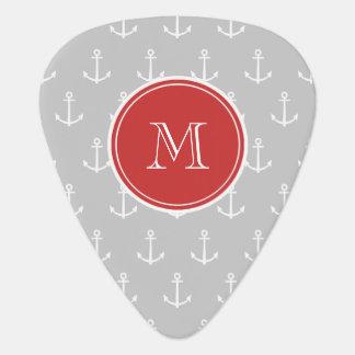 Gray White Anchors Pattern Red Monogram Pick