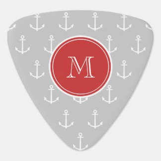 Gray White Anchors Pattern, Red Monogram Pick