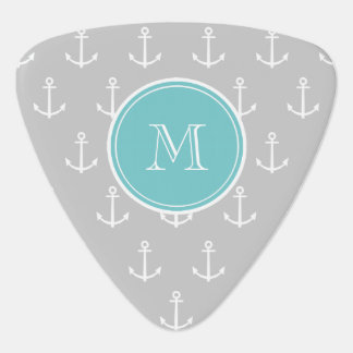 Gray White Anchors Pattern, Teal Monogram Guitar Pick