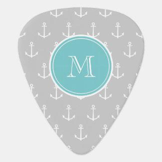Gray White Anchors Pattern, Teal Monogram Pick