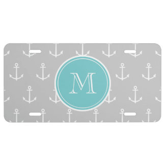 Gray White Anchors Pattern Teal Monogram License Plate