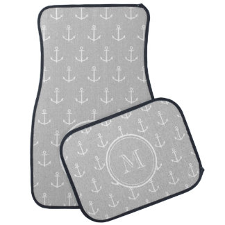 Gray White Anchors Pattern, Your Monogram Auto Mat