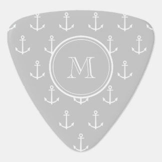 Gray White Anchors Pattern, Your Monogram Pick