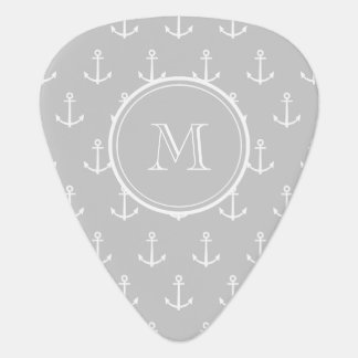 Gray White Anchors Pattern, Your Monogram Pick