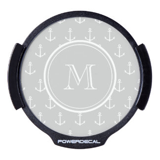 Gray White Anchors Pattern, Your Monogram LED Auto Decal