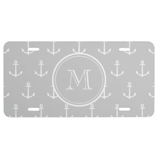 Gray White Anchors Pattern, Your Monogram License Plate