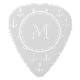 Gray White Anchors Pattern, Your Monogram White Delrin Guitar Pick