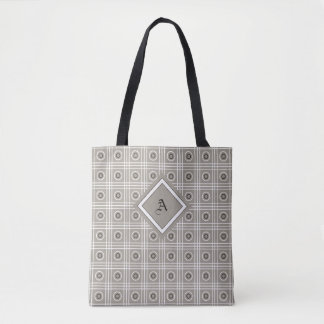 Gray, White, and Black Patterned Tote Bag