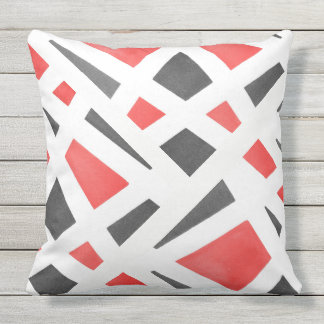 Gray White and Red Geometric Watercolor Outdoor Pillow