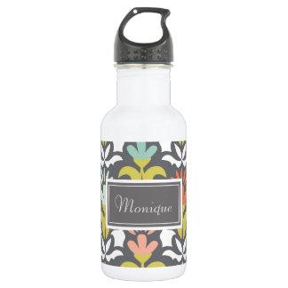 Gray, White, Aqua Patterned Custom Water Bottle