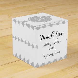 Gray White Aztec Arrows Monogram Favor Boxes